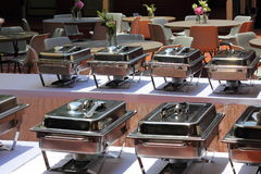 Chafing Dishes banquet table Stock Photo