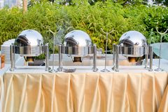 Chafing dishes at a party Royalty Free Stock Image