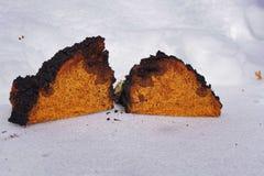Chaga-Pilzklumpen, die auf dem Schnee liegen Stockfoto