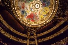 Chaggal painted roof at the Opera de Paris, Palais Garnier. Stock Photos