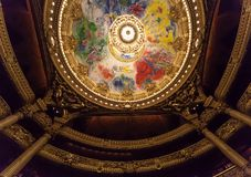 Chaggal painted roof at the Opera de Paris, Palais Garnier. Royalty Free Stock Photo