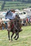 Chagra che lavora il lazo nell'Ecuador Immagine Stock