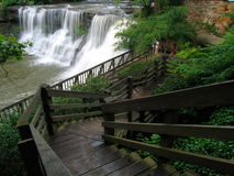 Chagrin Falls. Stairway leading down to Waterfall in Chagrin Falls, Ohio Stock Images