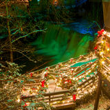 Chagrin Falls Christmas. The falls in Chagrin Falls, Ohio, and its viewing platform are lit up for Christmas royalty free stock images