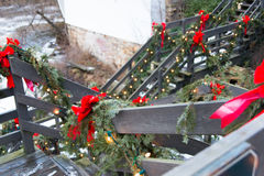 Chagrin Falls, Ohio. Decorated for Christmas stock photo