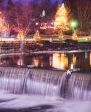 Chagrin Falls, Ohio. Decorated for Christmas in the Winter Time royalty free stock photography