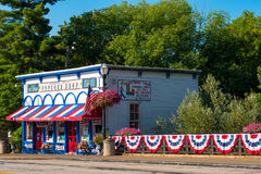 Chagrin Falls Popcorn Shop. CHAGRIN FALLS, OH - JULY 30, 2017: The Popcorn Shop in Chagrin Falls, perched above and next to the falls themselves, is one of the stock image