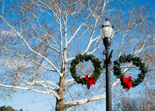 Chagrin Falls in the Winter. In Ohio with Street Light Decorated stock image