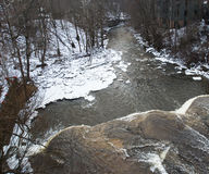 Chagrin Falls in the Winter. In Ohio with Trees stock photo