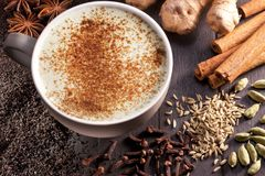 Chai Latte Ingredients Tea Cup Stock Photos