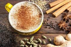 Chai Latte Tea Cup Ingredients photographie stock libre de droits