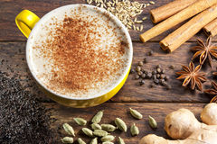 Chai Latte Tea Cup Ingredients Royalty Free Stock Photography