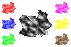 Chai Nat Province översiktsvektor vektor illustrationer