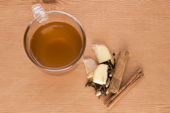 Chai tea with cinnamon sticks and ginger Royalty Free Stock Photo