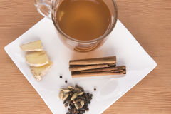 Chai tea with cinnamon sticks and ginger Royalty Free Stock Image