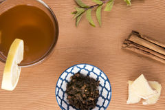 Chai tea surrounded with the ingredients Royalty Free Stock Images