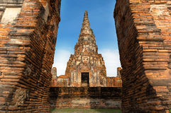 Chai Watthanaram Temple in Thailand. Front view from old temple in Thailand stock photography