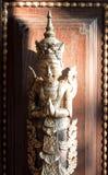 CHAIANG MAI TAJLANDIA, STYCZEŃ, - 26, 2014: Dekoracyjna rzeźbiąca antykwarska postać mandarynu Dhara Dhevi Chiang Orientalny Mai, Zdjęcia Stock