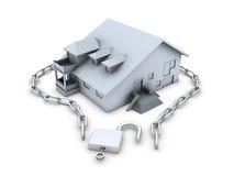chain öppnad padlock för hus tangent vektor illustrationer