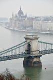 Chain överbryggar i Budapest Royaltyfri Fotografi