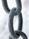 Chain. Parts of a chain close up, covered by hoarfrost on a frost Royalty Free Stock Image