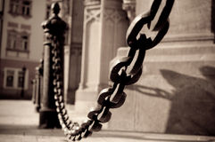 Chain. Detail of chain near St.Elizabeth Cathedral royalty free stock photography