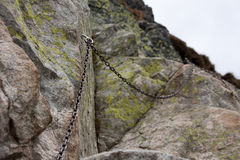 Chain. For mountain hiking tourists Royalty Free Stock Images