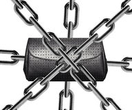Chain. Metal chain around lady wallet Royalty Free Stock Image