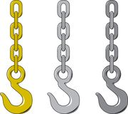 Chain. Vector illustration of three different chain and hook Stock Image