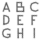 Chain alfabet för cykel A till I royaltyfri illustrationer