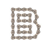 Chain alphabet. The letters are made of chain gear stock images