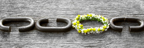 A chain is only as strong as its weakest link. Proverb one link made of flowers Stock Photos