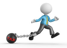 Chain ball. 3d people - man, person with chain ball. Concept of tax. Businessman Stock Image