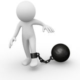 Chain ball attached to a man. Computer generated image of a chain ball attached to a man Royalty Free Stock Photos