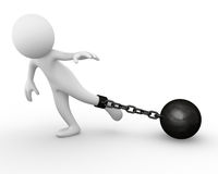 Chain ball attached to a man. Computer generated image of a chain ball attached to a man Stock Photography
