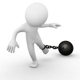 Chain ball attached to a man. Computer generated image of a chain ball attached to a man Stock Photos