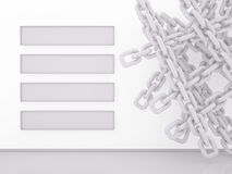 Chain and Banner Stripes on white, 3D Stock Photo