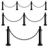Chain barrier stand. Iron fence barricade. Isolated set vector illustration. Stock Photos