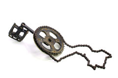 Chain and bicycle pedal isolated on white background Stock Photo