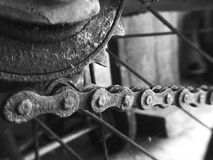 Chain. Bicyclechain gear black&white dirty Royalty Free Stock Photography