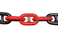 Chain big. Black and red big chain, anchor chain isolated on white background Stock Photography