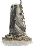Chain  on big dollar background Royalty Free Stock Photo