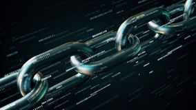 Metal chain with many binary numbers. Blockchain technology conceptual loopable 3D animation. Chain and binary numbers 3D stock footage