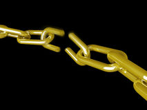 Chain break. Gold chain break on black background Royalty Free Stock Photography