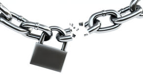 Chain breaking. 3d illustration on white isolated Royalty Free Stock Photography