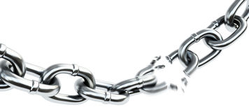 Chain breaking. 3d illustration on white background Stock Photography