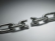Chain breaking. Close up of the chain breaking of pulling royalty free stock image