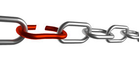 Chain breaking. Metal chain breaking at weakest link Stock Photography