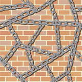 Chain on brick wall seamless background Stock Photo