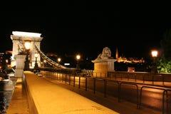 Chain Bridge. Kings Palace at the night, Hungary, Budapest Stock Photo